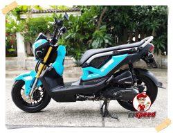 ขายสดหรือผ่อนได้ Honda New Zoomer-x ไมล์ดิจิตอลสีฟ้าไม่ต้องมีคนค้ำ